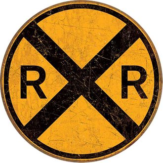 Tin Sign - Railroad Crossing (RxR) (Weathered) (Round)