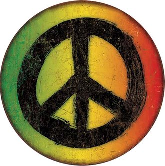 Tin Sign - Rasta Peace Sign (Round)