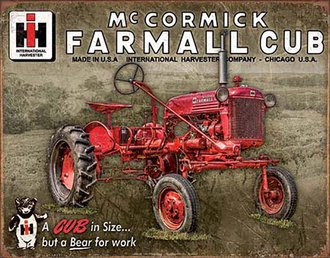 Tin Sign - International McCormick Farmall Cub Tractor