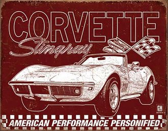Tin Sign - 1969 Corvette Stingray - American Performance Personified