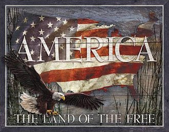 Tin Sign - America - Land of the Free