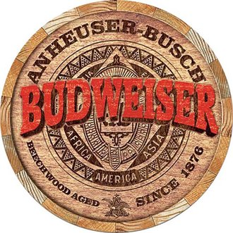 Tin Sign - Budweiser Beer - Barrel End (Round)