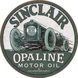 Tin Sign - Sinclair Opaline Motor Oil - Race Car (Round)