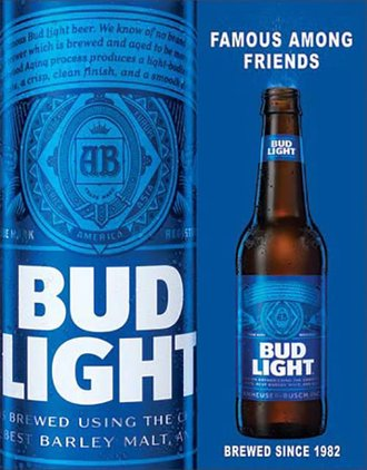 Tin Sign - Bud Light - Famous Among Friends