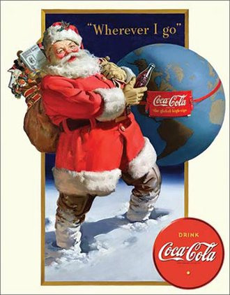 Tin Sign - Coca-Cola - Santa & Globe