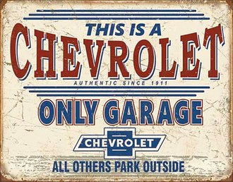 Tin Sign - Chevy Only Garage