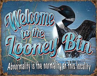 Tin Sign - Welcome to the Looney Bin