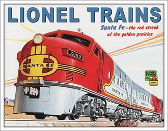 Tin Sign - Lionel Santa Fe Engine
