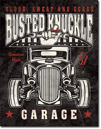 Tin Sign - Busted Knuckle Garage - Hot Rod