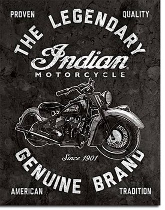 Tin Sign - Indian Motorcycles - The Legendary Genuine Brand