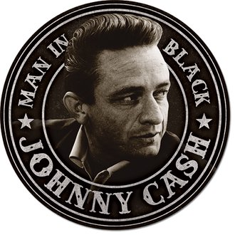 Tin Sign - Johnny Cash - Man in Black (Round)