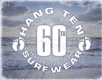 Tin Sign - Hang Ten - 60th Anniversary