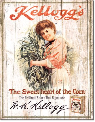 Tin Sign - Kellogg's - The Sweet Heart of the Corn