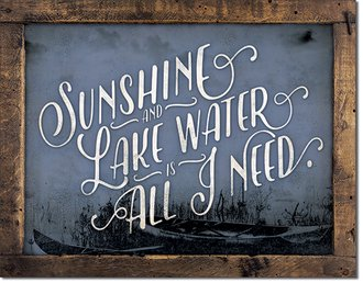 Tin Sign - Sunshine & Lake Water is All I Need