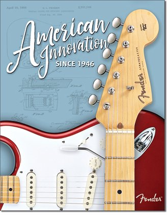 Tin Sign - Fender Guitars - American Innovation Since 1946