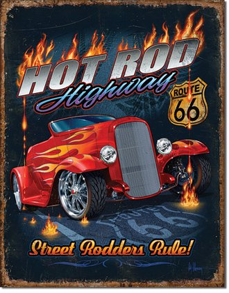 Tin Sign - Hot Rod Highway -Route 66