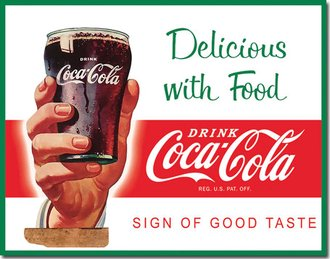 Tin Sign - Coke - Delicious with Food