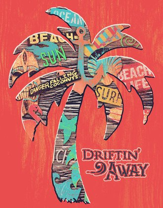 Tin Sign - Driftin' Away - Palm Tree