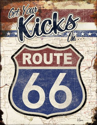 Tin Sign - Get Your Kicks on Route 66