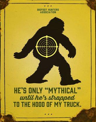 Tin Sign - Bigfoot Hunters Association - Mythical