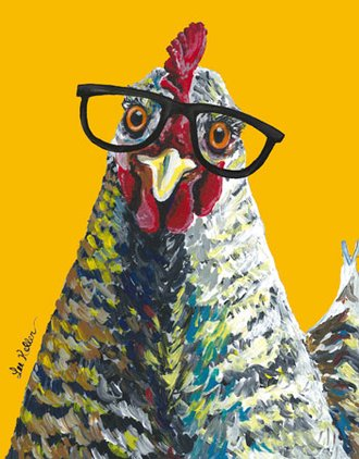 Tin Sign - Lee Keller - Chicken with Glasses