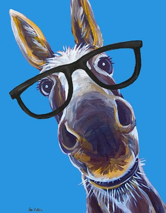 Tin Sign - Lee Keller - Donkey with Glasses