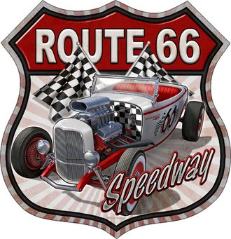 Tin Sign - Route 66 Speedway - Roadster