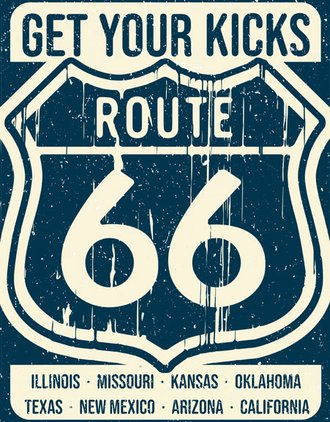 Tin Sign - Get Your Kicks on Route 66 - States