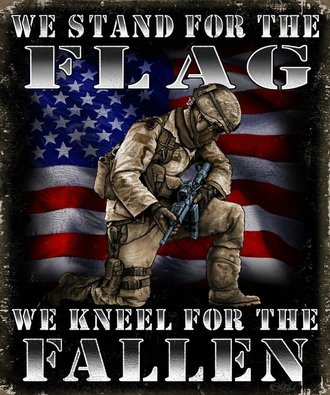 Tin Sign - We Stand for the Flag - We Kneel for the Fallen