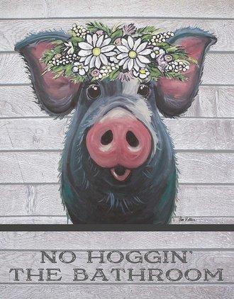 Tin Sign - No Hoggin' the Bathroom