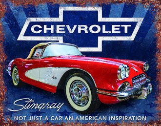 Tin Sign - Corvette Stingray - Stars & Stripes - An American Inspiration