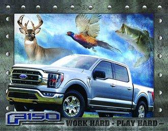 Tin Sign - Ford F-150 - Work Hard - Play Hard