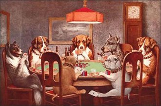 Tin Sign - 7 Dogs Playing Poker