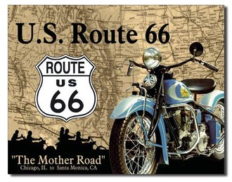 Tin Sign - Route 66 - The Mother Road (Motorcycle)
