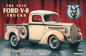 Tin Sign - Ford - The 1939 Ford V-8 Trucks