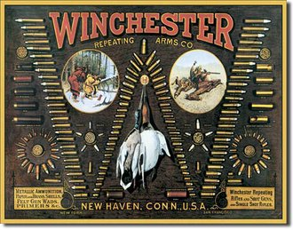 Tin Sign - Winchester - 'W' Bullet Board