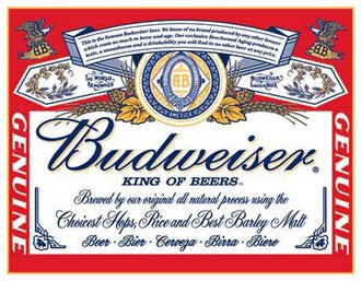 Tin Sign - Budweiser - Label