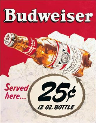 Tin Sign - Budweiser - 25 Cents