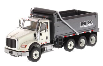 1:50 International HX620 Dump Truck (White Cab/Gun Metal Gray Dump)