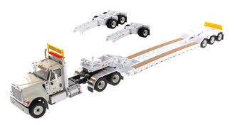 1:50 International HX520 Tandem Tractor w/XL 120 Trailer (White) (w/Both Rear Boosters)