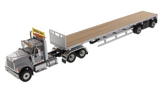 1:50 International HX520 Tandem Tractor w/53' Flatbed Trailer (Light Gray/Silver)