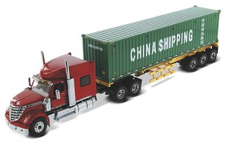 "1:50 International LoneStar Day Cab w/Skeleton Trailer & 40' Dry Good Sea Container ""China Shipp"