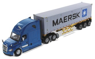 "1:50 Freightliner New Cascadia w/Skeleton Trailer & 40' Dry Goods Sea Container ""Maersk"""