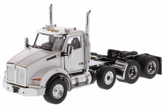 Kenworth T880 SBFA DayCab Pusher - Axle Tandem Tractor (Metallic White Cab)
