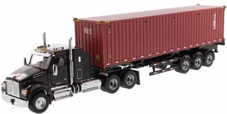 "Kenworth T880 SFFA 40"" Sleeper Tandem Tractor w/40' ""TEXT"" Sea Container (Metallic Black Cab)"