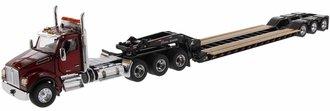 Kenworth T880 SFFA Tridem w/XL120 HDG Trailer, 2 Boosters & Jeep (Red/Black)
