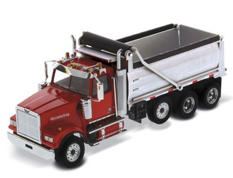1:50 Western Star 4900 SF Dump Truck (Red Cab w/Matte Silver Plated Dump Body)