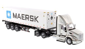 """1:50 Peterbilt 579 Day Cab Tractor w/40' Refer """"Maersk"""" (Legendary Silver Cab & 40' White Container)"""