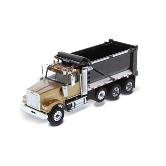1:50 Western Star 4900 SF Tandem Truck w/Pusher Axle & Ox Bodies Stampede Dump Bed (Gold/Black)