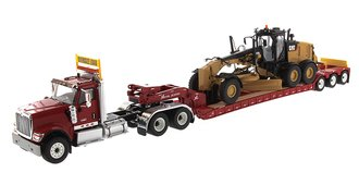 1:50 International HX520 Tandem Tractor w/XL 120 Trailer (Red) w/CAT 12M3 Motor Grader Load